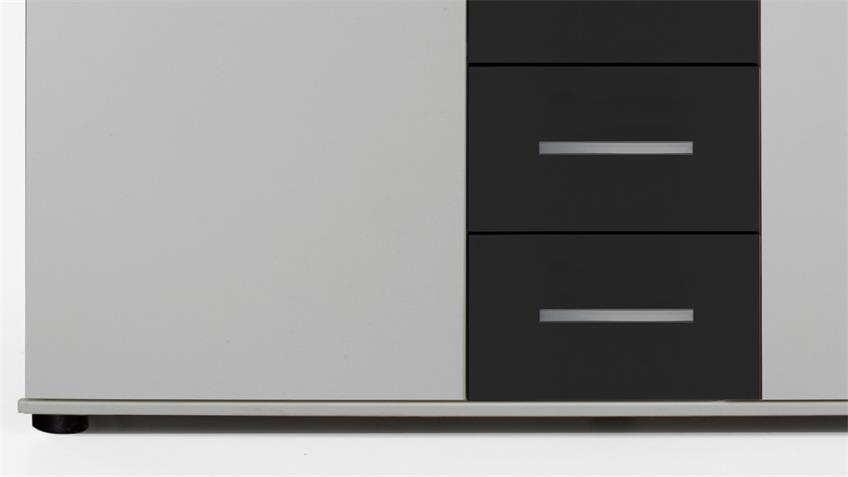 Kommode Cheep in weiß und schwarz 2 Türen 4 Schubkästen