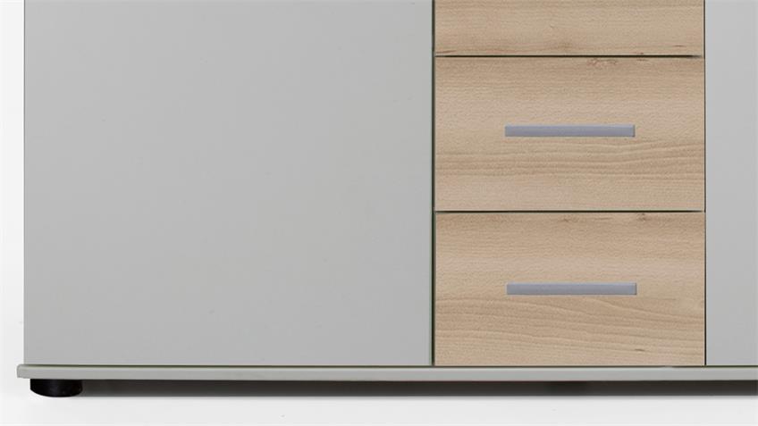 Kommode Cheep in weiß und Edelbuche 2 Türen 4 Schubkästen