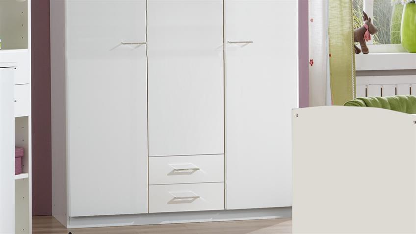 Kleiderschrank Babyzimmer ELENA weiß 3-türig 2 Schubkästen