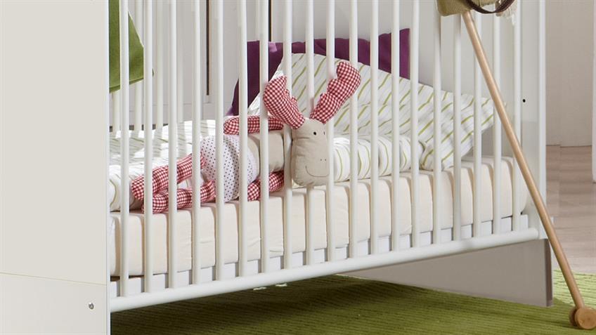 Babybett ELENA weiß 70x140 cm Schlupfsprossen