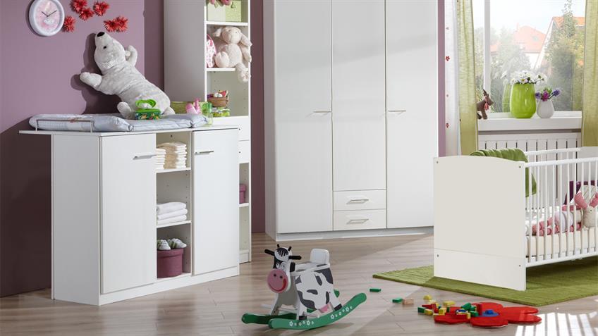 Wickelkommode Babyzimmer ELENA weiß 2-türig mit Aufsatz