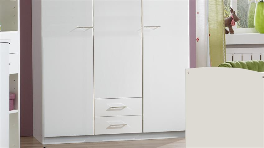 Babyzimmer ELENA 3-teilig weiß Babybett Wickelkommode Schrank