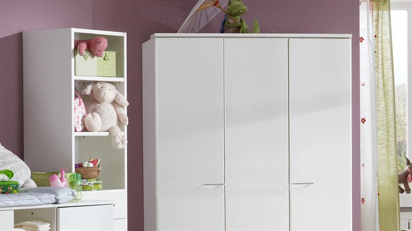 Babyzimmer ELENA 5-teilig weiß Babybett Wickelkommode Schrank