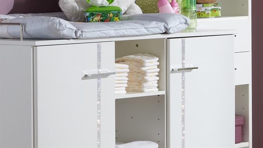 Wickelkommode Babyzimmer ELLY weiß Strass 2-türig mit Aufsatz
