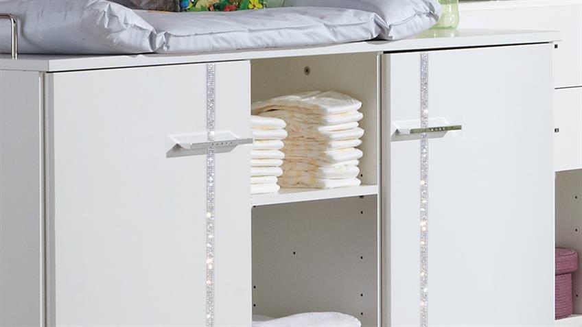 Babyzimmer ELLY 5-teilig weiß Strass Babybett Wickelkommode Schrank