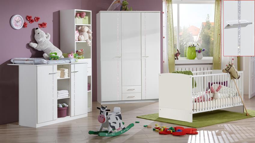 Babyzimmer ELLY 3-teilig weiß Babybett Wickelkommode Schrank
