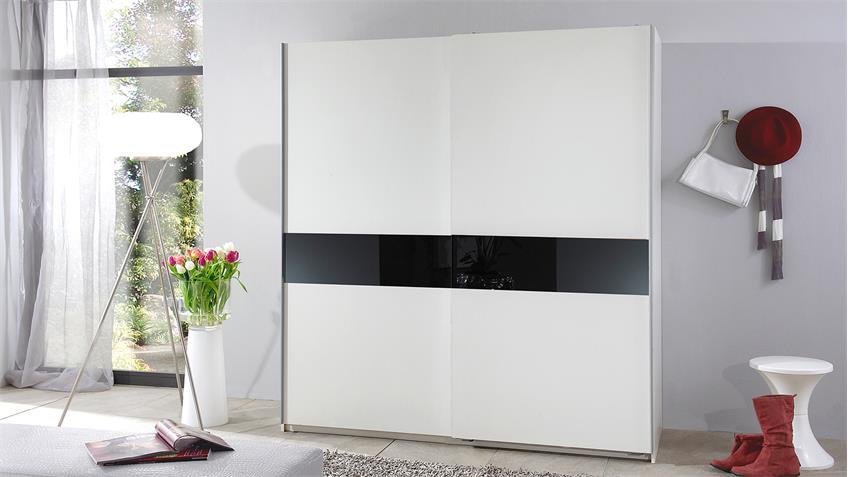 Schwebetürenschrank SPOOD in weiß und Glas schwarz 167 cm