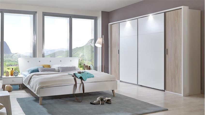 Schlafzimmer BERGEN Schrank LOTTO Eiche Sägerau Alpinweiß