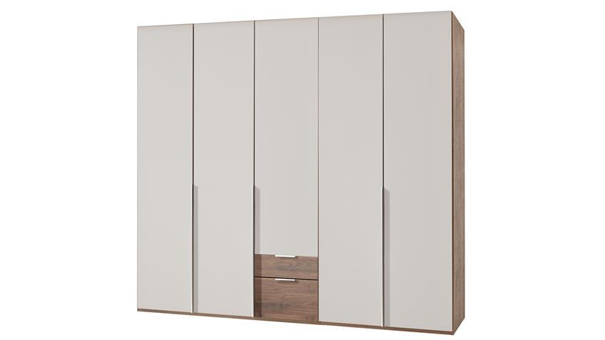 Kleiderschrank NEW YORK A in Prosecco und Nussbaum 225 cm
