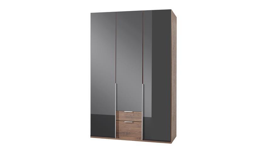 Kleiderschrank NEW YORK C in Glas schwarz Nussbaum 135 cm