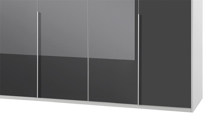 Kleiderschrank NEW YORK C in Glas grau Alpinweiß 270 cm