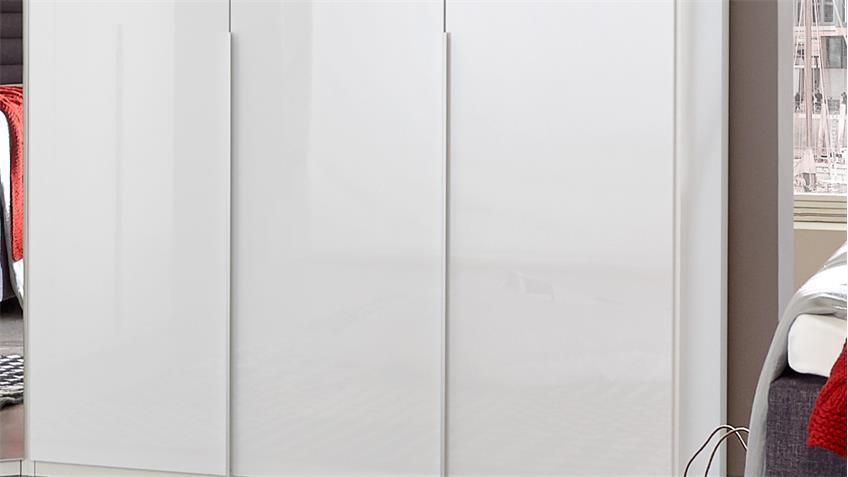 Kleiderschrank NEW YORK D Pearlglanz Softwhite 135 cm