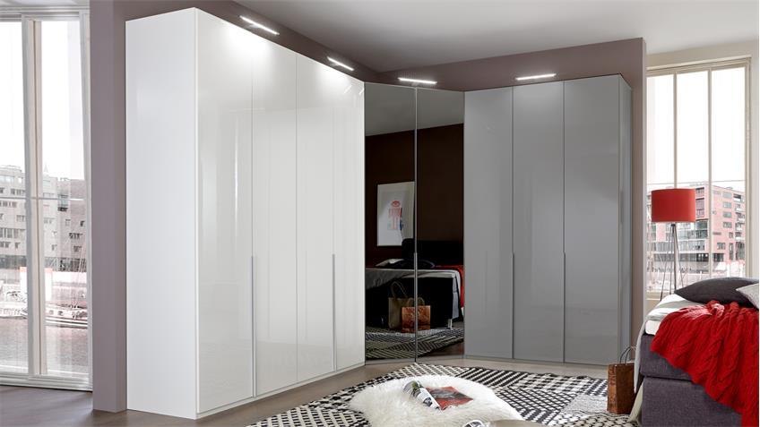 Kleiderschrank NEW YORK D Pearlglanz Softwhite 180 cm