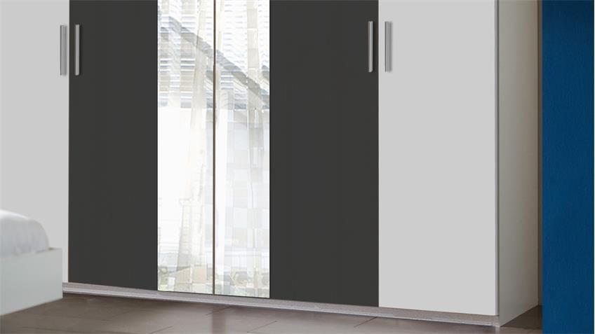Kleiderschrank ILONA in Alpinweiß und anthrazit 225 cm