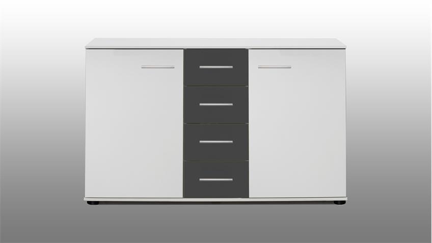 Kommode 2 ILONA in Alpinweiß und anthrazit 130 cm breit