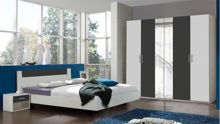 Schlafzimmer ILONA Alpinweiß anthrazit mit Drehtürenschrank