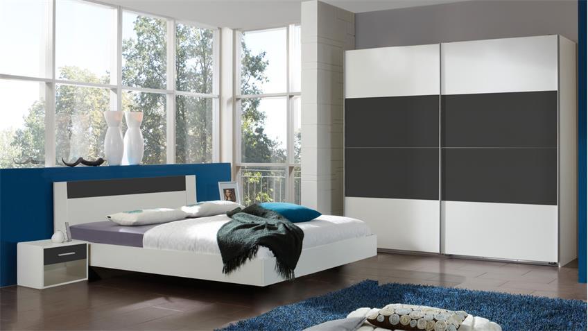 Schlafzimmer ILONA Alpinweiß anthrazit Schwebetürenschrank