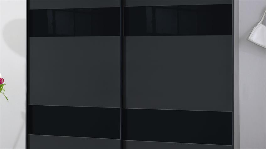 Schwebetürenschrank CHESS GLAS anthrazit und Glas schwarz