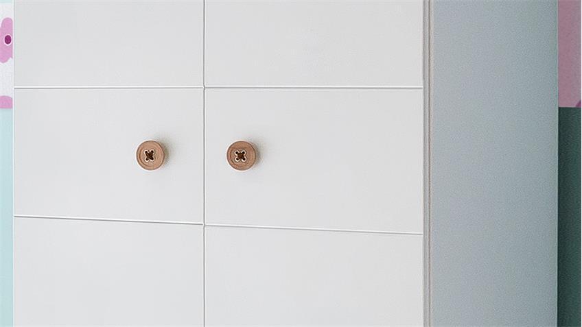 Kleiderschrank BILLU Alpinweiß mit Eiche Sägerau 84 cm