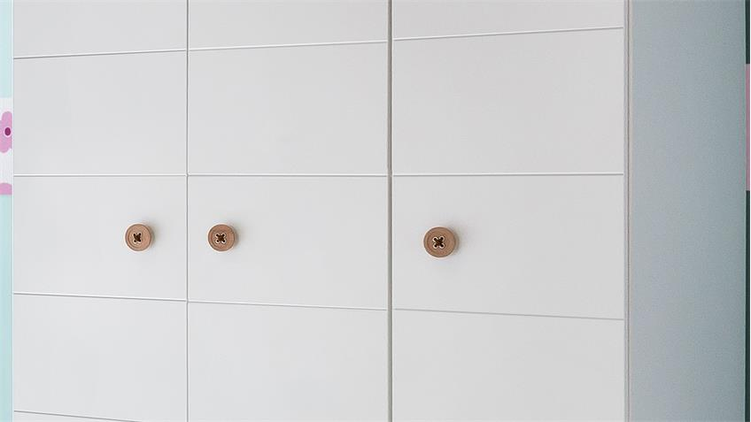 Kleiderschrank BILLU Alpinweiß mit Eiche Sägerau 125 cm