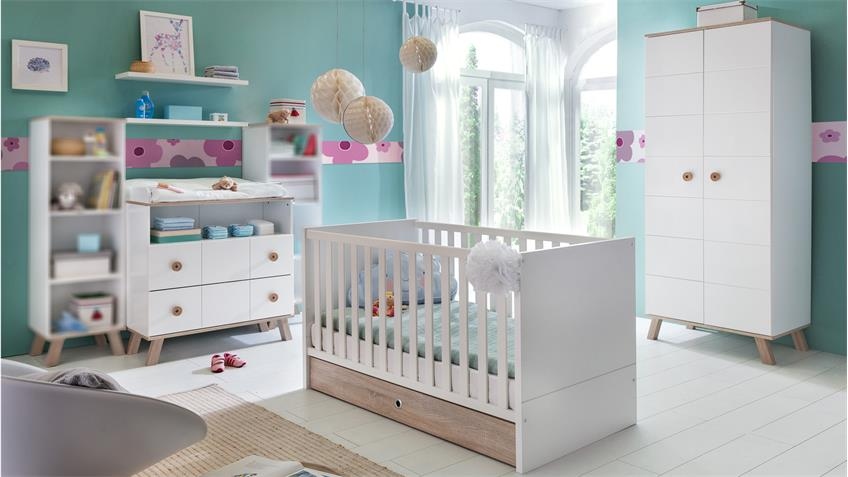 Babyzimmer Set 1 BILLU 4-tlg Alpinweiß und Eiche Sägerau