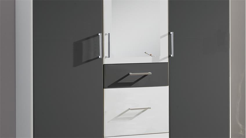 Kleiderschrank CLICK mit Spiegel in Alpinweiß und anthrazit