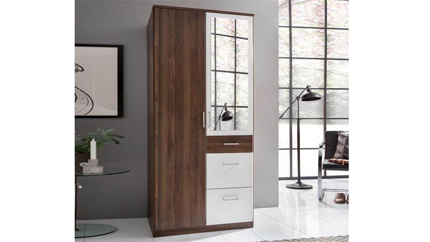 Kleiderschrank CLICK Nussbaum und Alpinweiß 90 cm mit Spiegel
