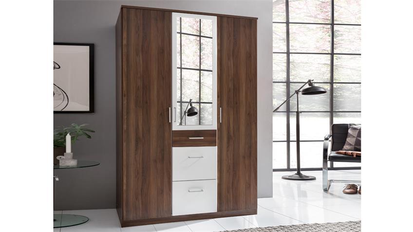 Kleiderschrank CLICK in Nussbaum Alpinweiß 135 cm mit Spiegel