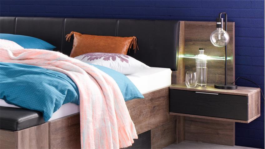 Futonbett VIRGO Bett 180x200 Schlammeiche inkl. LED und Nachtschränke