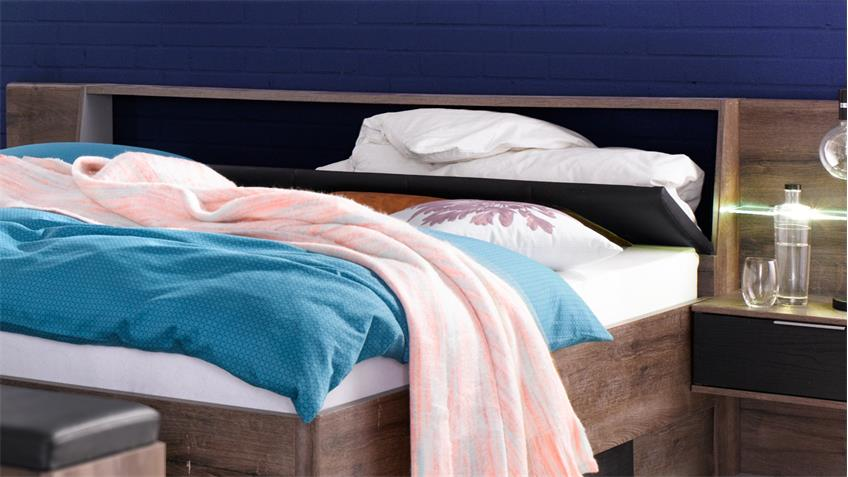 Schlafzimmer Set VIRGO Schwarzeiche und Schlammeiche inkl. LED