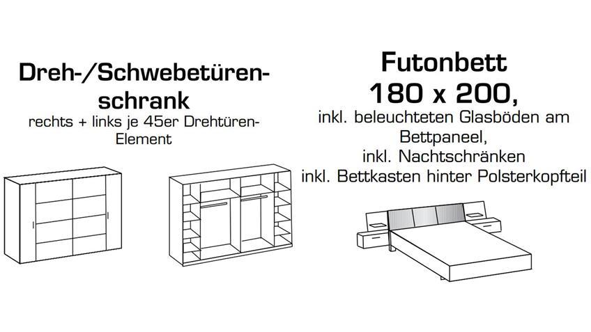 Schlafzimmer Komplettset VIRGO Schwarzeiche und Schlammeiche inkl. LED