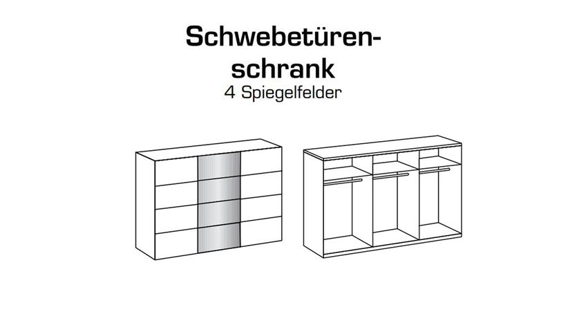 Schwebetürenschrank ERNIE Kleiderschrank in Alpinweiß mit Spiegel