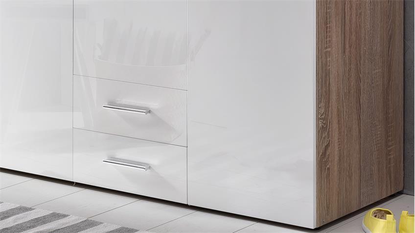 Kleiderschrank MALTA in Hochglanz Lack weiß und Eiche Sägerau 120 cm