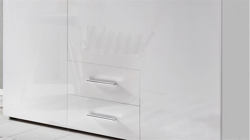 Kleiderschrank MALTA in Hochglanz Lack weiß und Alpinweiß 120 cm