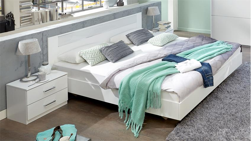 bettanlage pamela bettgestell 180x200 nachtschr nke alpinwei glas wei. Black Bedroom Furniture Sets. Home Design Ideas