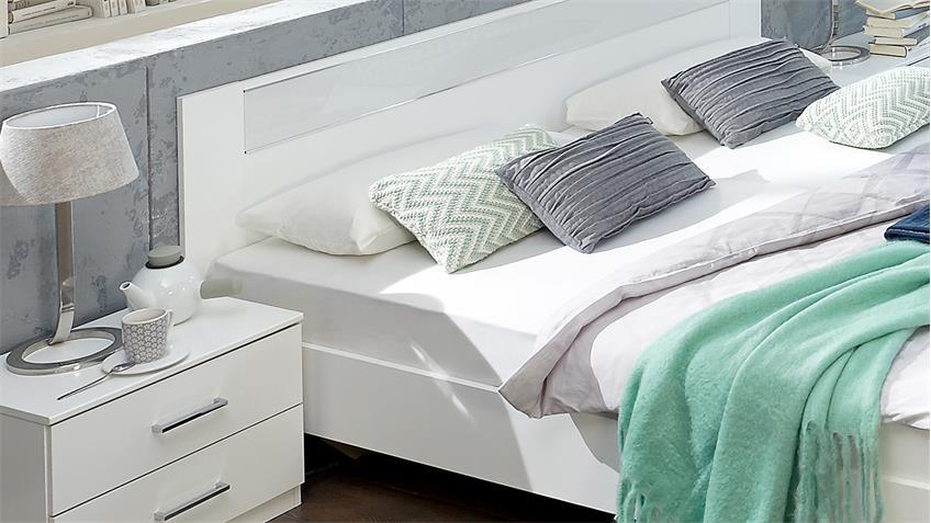 bettanlage pamela bettgestell 180x200 nachtschr nke alpinwei glas wei. Black Bedroom Furniture Sets. Home Design Ideas