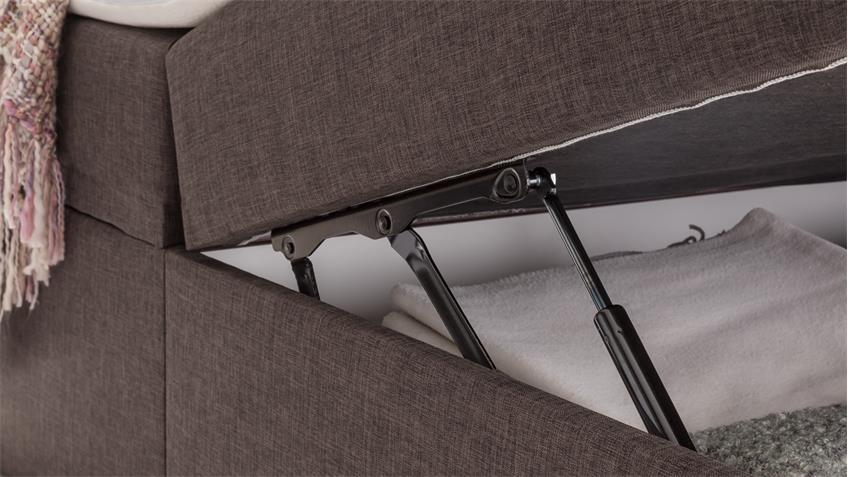 Funktionsbett mit Federkernbox und Topper 180x200 Mercura in Stoff braun