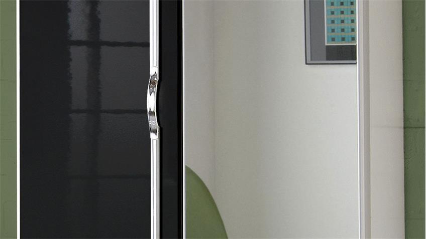 Kleiderschrank TRIO Schrank schwarz Hochglanz weiß Chrom mit Spiegel