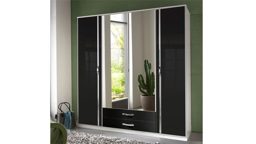 kleiderschrank trio schrank schwarz mit spiegel hochglanz chrom 180 cm. Black Bedroom Furniture Sets. Home Design Ideas