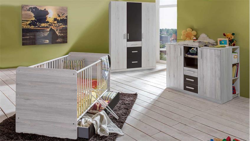 Babyzimmer CARIBA 3 tlg. Weißeiche Abs. Lavafarbig