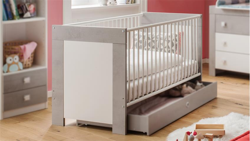 Babybett KIGA Gitterbett in weiß und Beton lichtgrau Babyzimmer