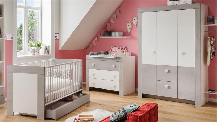 Babyzimmer KIGA 3-teiliges Set in weiß und Beton lichtgrau