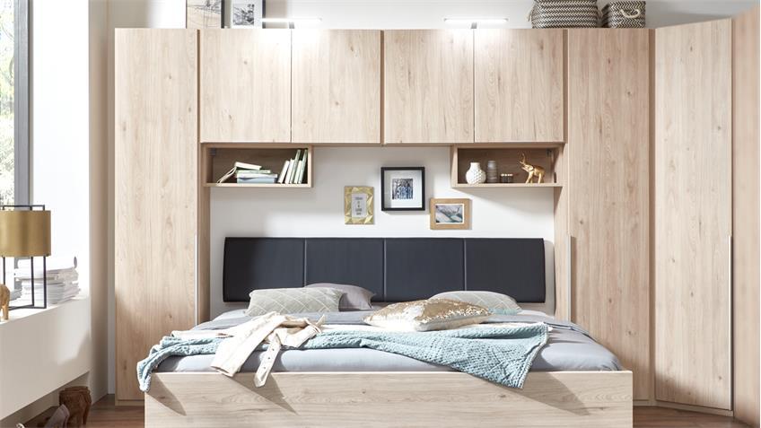 bettbr cke new york a bett berbau in eiche hell. Black Bedroom Furniture Sets. Home Design Ideas