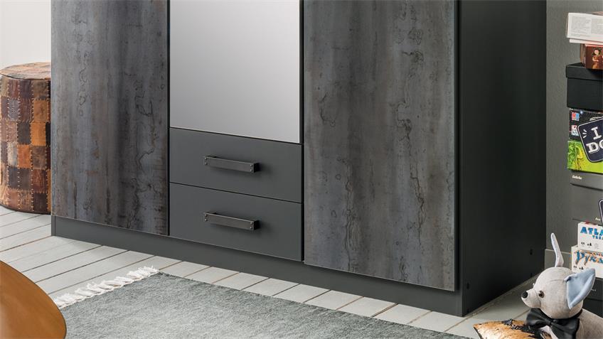 Kleiderschrank DUISBURG graphit Stahloptik Spiegel 135 cm