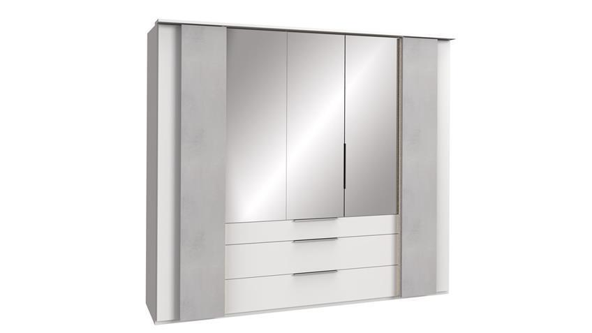 Kleiderschrank CHICAGO 5-trg. weiß Beton lichtgrau 250 cm