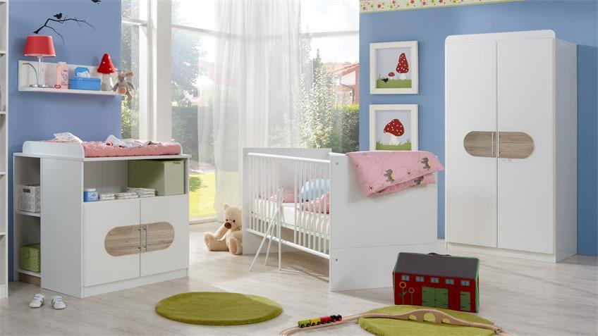 Babyzimmer LILLE 3-tlg. weiß San Remo Eiche Kinderzimmer