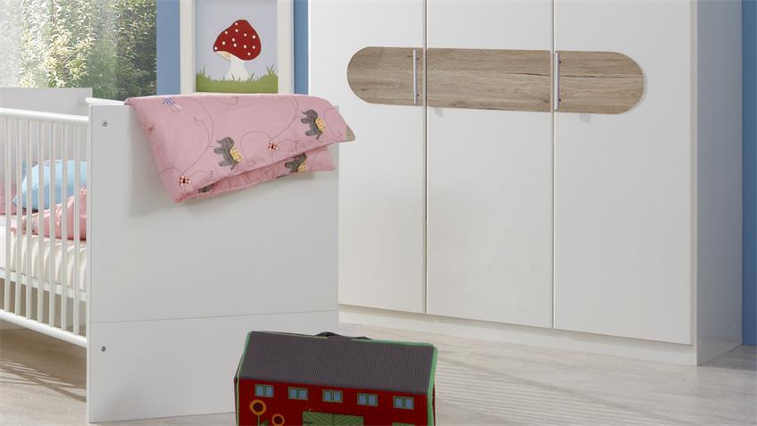 Babyzimmer LILLE 3-tlg. Kinderzimmer weiß San Remo Eiche