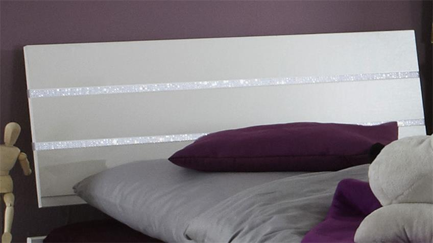 Bettanlage NIGHTLIGHT weiß Strasskristall Nachttisch 90x200