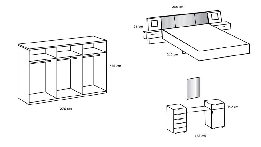 Schlafzimmer KUWAIT 5-tlg. weiß Strass inkl. LED 180x200
