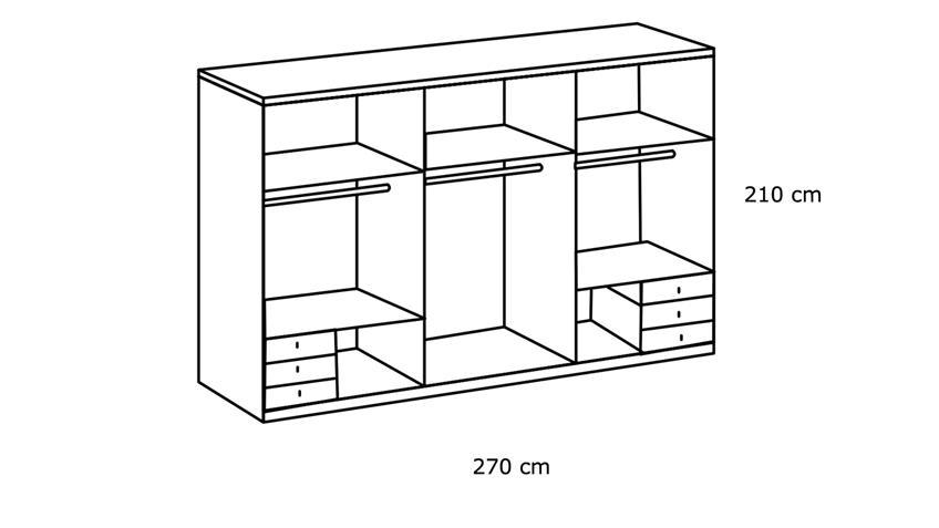 Schwebetürenschrank SEATTLE weiß Schlammeiche 270 cm